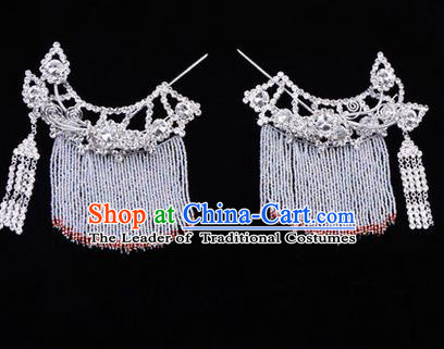Chinese Ancient Peking Opera Head Accessories Diva White Crystal Tassel Hairpins Temples Curtain, Traditional Chinese Beijing Opera Princess Hua Tan Hair Clasp Head-ornaments