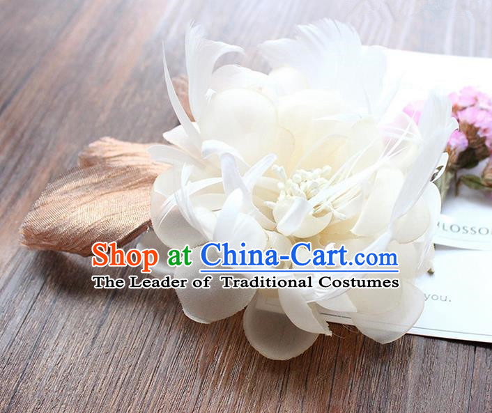 Top Grade Handmade Wedding Bride Hair Accessories Headwear, Traditional Princess Baroque Feather White Flower Hairpin Wedding Headpiece for Women