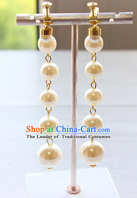 Top Grade Handmade Wedding Bride Accessories Long Earrings, Traditional Princess Baroque Pearl Wedding Eardrop for Women