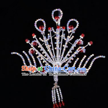 Chinese Ancient Peking Opera Head Accessories Diva Red Crystal Phoenix Hairpins Step Shake, Traditional Chinese Beijing Opera Princess Hua Tan Hair Clasp Head-ornaments