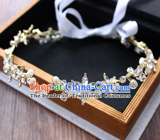 Top Grade Handmade Wedding Bride Hair Accessories, Traditional Princess Crystal Beads Hair Clasp Headpiece for Women