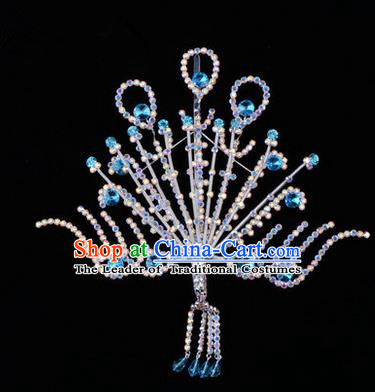 Chinese Ancient Peking Opera Head Accessories Diva Blue Crystal Phoenix Hairpins Step Shake, Traditional Chinese Beijing Opera Princess Hua Tan Hair Clasp Head-ornaments