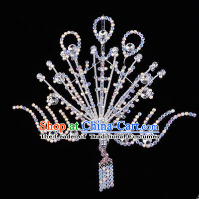 Chinese Ancient Peking Opera Head Accessories Diva White Crystal Phoenix Hairpins Step Shake, Traditional Chinese Beijing Opera Princess Hua Tan Hair Clasp Head-ornaments