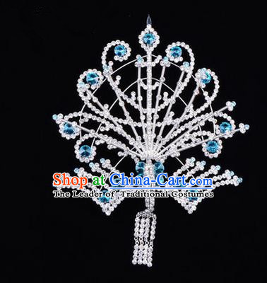 Chinese Ancient Peking Opera Head Accessories Diva Blue Tassel Crystal Phoenix Hairpins Step Shake, Traditional Chinese Beijing Opera Princess Hua Tan Hair Clasp Head-ornaments