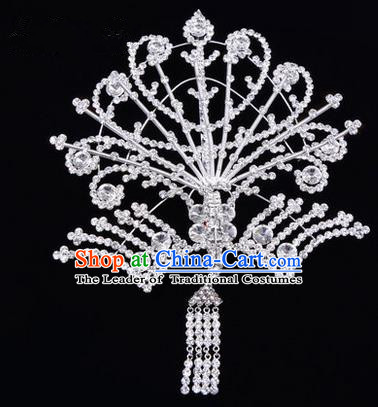 Chinese Ancient Peking Opera Head Accessories Diva White Tassel Crystal Phoenix Hairpins Step Shake, Traditional Chinese Beijing Opera Princess Hua Tan Hair Clasp Head-ornaments