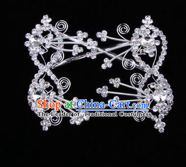 Chinese Ancient Peking Opera Head Accessories Diva White Crystal Bowknot Hairpins, Traditional Chinese Beijing Opera Princess Hua Tan Hair Clasp Head-ornaments