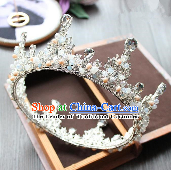 Top Grade Handmade Wedding Bride Hair Accessories Headwear, Traditional Baroque Queen Crystal Beads Royal Crown Wedding Headpiece for Women