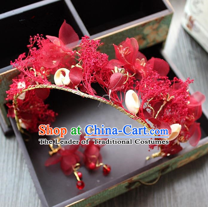 Top Grade Handmade Wedding Bride Hair Accessories Headwear and Earrings, Traditional Baroque Queen Red Silk Royal Crown Wedding Headpiece for Women