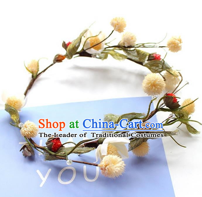 Top Grade Handmade Wedding Bride Hair Accessories Headwear, Traditional Princess Flower Hair Circle Headpiece for Women