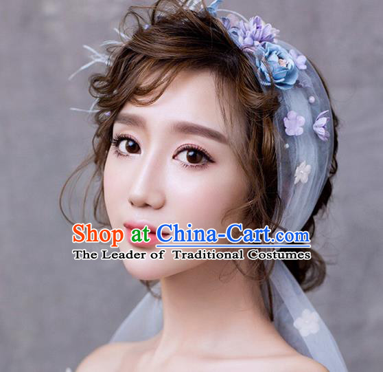 Top Grade Handmade Wedding Bride Hair Accessories Hair Band Complete Set, Traditional Princess Wedding Headwear for Women