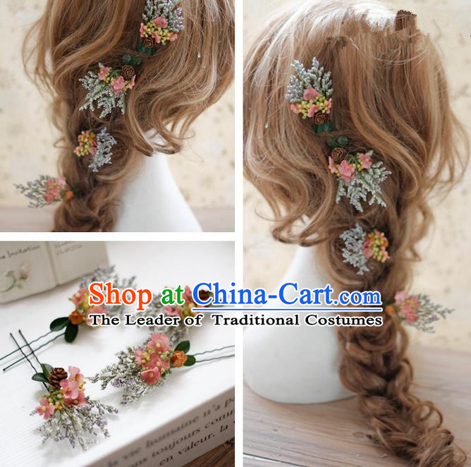 Top Grade Handmade Wedding Bride Hair Accessories Hairpins Complete Set, Traditional Princess Pink Flowers Wedding Headwear for Women