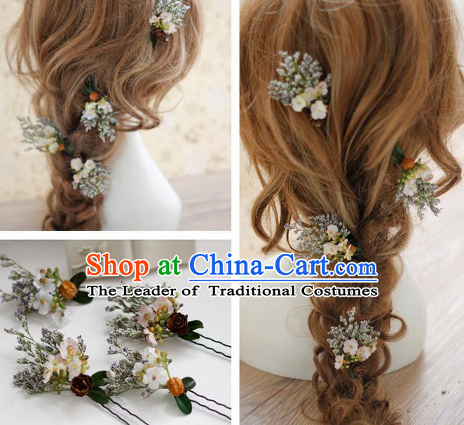 Top Grade Handmade Wedding Bride Hair Accessories Hairpins Complete Set, Traditional Princess White Flowers Wedding Headwear for Women