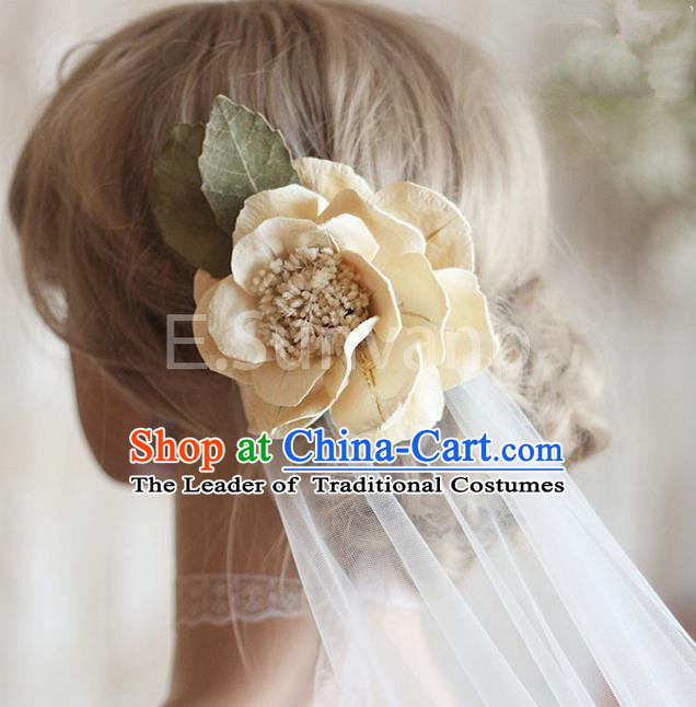 Top Grade Handmade Wedding Bride Hair Accessories Rose Hairpin, Traditional Princess Wedding Headwear Veil for Women