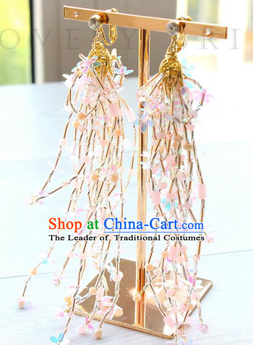 Top Grade Handmade Wedding Bride Earrings, Traditional Princess Baroque Tassel Wedding Accessories Eardrop for Women