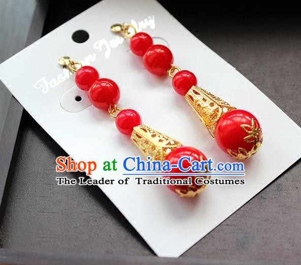 Top Grade Handmade China Wedding Bride Accessories Red Beads Earrings, Traditional Princess Xiuhe Suit Wedding Crystal Eardrop for Women