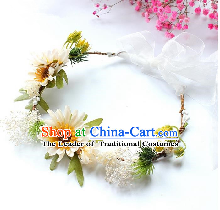 Top Grade Handmade Wedding Bride Hair Accessories Headwear Garland, Traditional Princess Crystal Wedding White Flowers Headpiece for Women