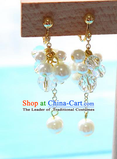 Top Grade Handmade China Wedding Bride Accessories Pearl Tassel Earrings, Traditional Princess Wedding Eardrop for Women