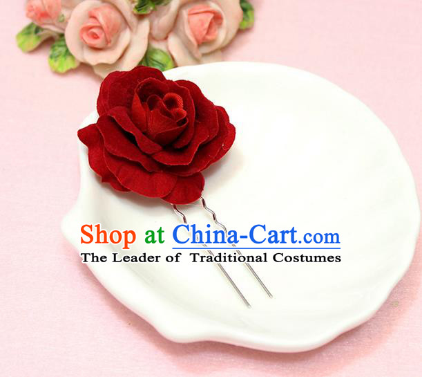 Top Grade Handmade Wedding Bride Hair Accessories, Traditional Princess Wedding Rose Hairpins for Women