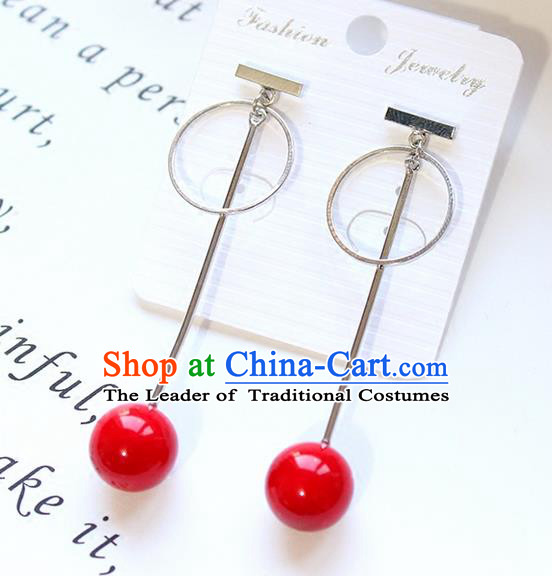 Top Grade Handmade China Wedding Bride Accessories Red Pearl Earrings, Traditional Princess Long Eardrop Wedding Jewelry for Women