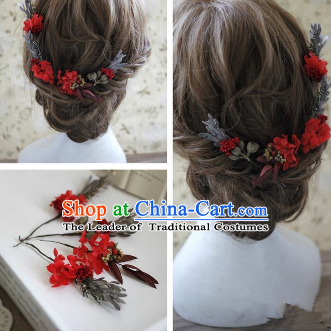 413406c2d Top Grade Handmade Wedding Bride Hair Accessories Red Flowers Hairpin  Complete Set, Traditional Princess Baroque Headpiece for Women