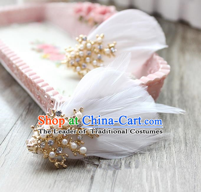 Top Grade Handmade Wedding Bride Hair Accessories Feather Hairpin Hair Clip, Traditional Princess Baroque Pearl Headpiece for Women