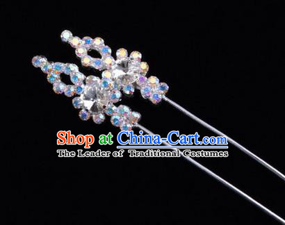 Chinese Ancient Peking Opera Head Accessories Diva Colorful White Crystal Hairpins, Traditional Chinese Beijing Opera Princess Hua Tan Hair Clasp Head-ornaments GuDuo Needle