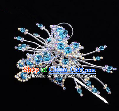 Chinese Ancient Peking Opera Head Accessories Diva Blue Colorful Crystal Butterfly Hairpins, Traditional Chinese Beijing Opera Princess Hua Tan Hair Clasp Head-ornaments