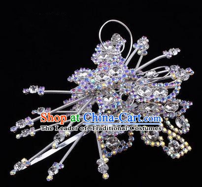 Chinese Ancient Peking Opera Head Accessories Diva White Colorful Crystal Butterfly Hairpins, Traditional Chinese Beijing Opera Princess Hua Tan Hair Clasp Head-ornaments