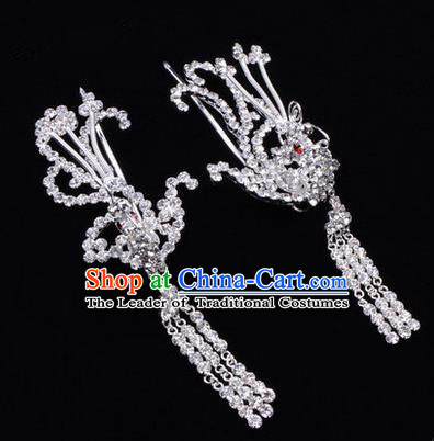 Chinese Ancient Peking Opera Head Accessories Diva Colorful Crystal White Phoenix Tassel Hairpins, Traditional Chinese Beijing Opera Princess Hua Tan Hair Clasp Head-ornaments