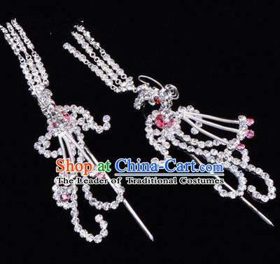 Chinese Ancient Peking Opera Head Accessories Diva Colorful Crystal Pink Phoenix Tassel Hairpins, Traditional Chinese Beijing Opera Princess Hua Tan Hair Clasp Head-ornaments