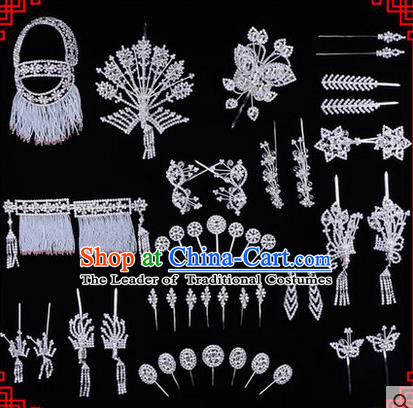 Chinese Ancient Peking Opera Head Accessories Diva White Crystal Phoenix Coronet Hairpins, Traditional Chinese Beijing Opera Princess Hua Tan Hair Clasp Head-ornaments Complete Set