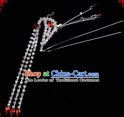 Chinese Ancient Peking Opera Head Accessories Diva Red Crystal Long Tassel Phoenix Hairpins, Traditional Chinese Beijing Opera Princess Hua Tan Hair Clasp Head-ornaments