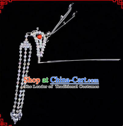 Chinese Ancient Peking Opera Head Accessories Diva White Crystal Long Tassel Phoenix Hairpins, Traditional Chinese Beijing Opera Princess Hua Tan Hair Clasp Head-ornaments