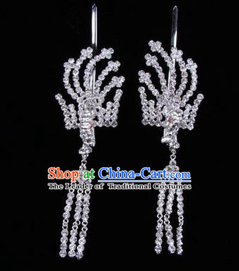 Chinese Ancient Peking Opera Head Accessories Diva Crystal White Tassel Hairpins, Traditional Chinese Beijing Opera Princess Hua Tan Hair Clasp Head-ornaments