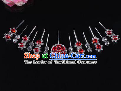 Chinese Ancient Peking Opera Head Accessories Diva Crystal Red Hairpins Complete Set, Traditional Chinese Beijing Opera Princess Hua Tan Hair Clasp Head-ornaments