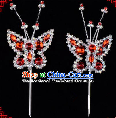 Chinese Ancient Peking Opera Head Accessories Diva Red Crystal Beads Butterfly Hairpins, Traditional Chinese Beijing Opera Princess Hua Tan Hair Clasp Head-ornaments