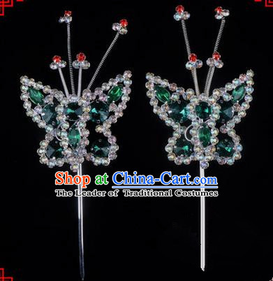Chinese Ancient Peking Opera Head Accessories Diva Green Crystal Beads Butterfly Hairpins, Traditional Chinese Beijing Opera Princess Hua Tan Hair Clasp Head-ornaments