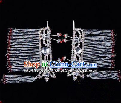 Chinese Ancient Peking Opera Hair Accessories Young Lady Diva White Crystal Hairpins Tassel Temples Curtain, Traditional Chinese Beijing Opera Hua Tan Head Ornaments