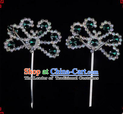 Chinese Ancient Peking Opera Hair Accessories Young Lady Diva Green Crystal Beads Hairpins, Traditional Chinese Beijing Opera Hua Tan Head Ornaments Hair Clasp
