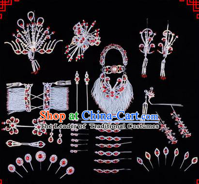 Chinese Ancient Peking Opera Head Accessories Diva Red Crystal Hairpins, Traditional Chinese Beijing Opera Princess Hua Tan Hair Clasp Head-ornaments Complete Set
