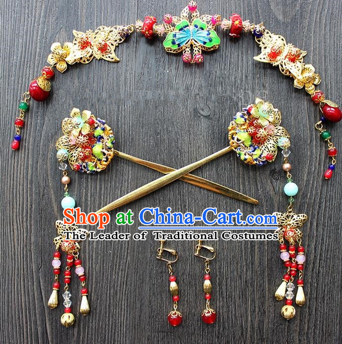 Top Grade Chinese Handmade Wedding Hair Accessories Complete Set, Traditional China Xiuhe Suit Bride Forehead Ornament Phoenix Coronet Tassel Hairpins Headwear for Women