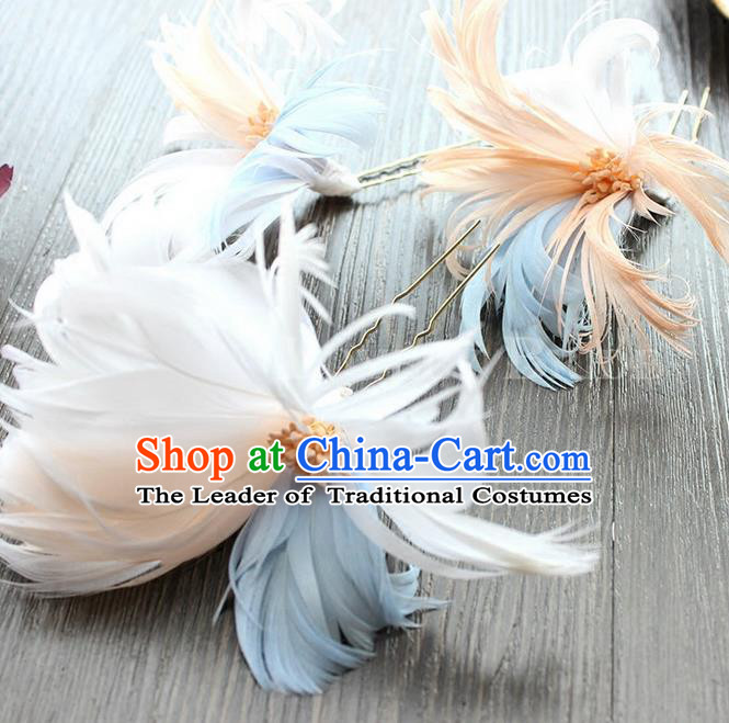 Top Grade Handmade Wedding Bride Hair Accessories Headwear Feather Hair Stick, Traditional Princess Baroque Headpiece for Women