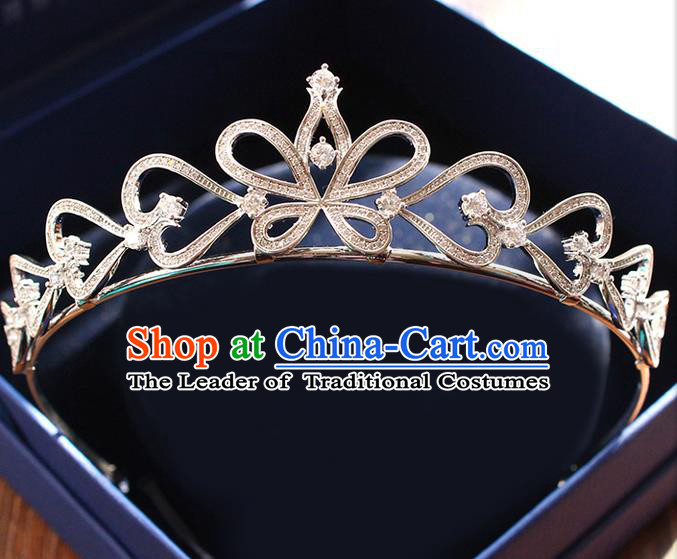 Top Grade Handmade Wedding Hair Accessories Bride Luxury Crystal Butterfly Crown, Traditional Baroque Princess Royal Crown Wedding Headwear for Women