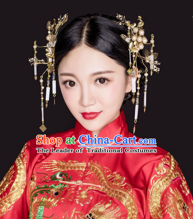 Top Grade Chinese Handmade Wedding Hair Accessories, Traditional China Xiuhe Suit Bride Phoenix Coronet Hair Clasp Headwear for Women