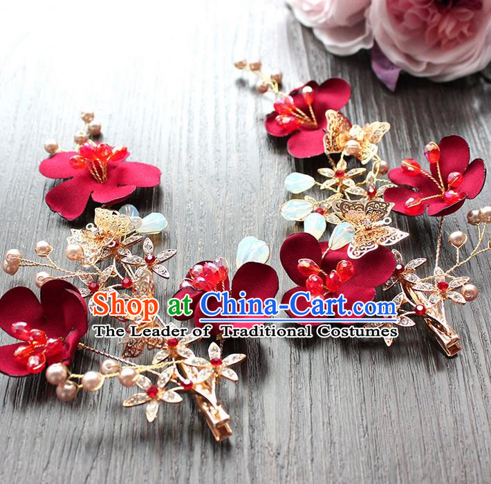 Top Grade Handmade Wedding Bride Hair Accessories Headwear Red Flowers Hair Stick, Traditional Princess Baroque Headpiece for Women