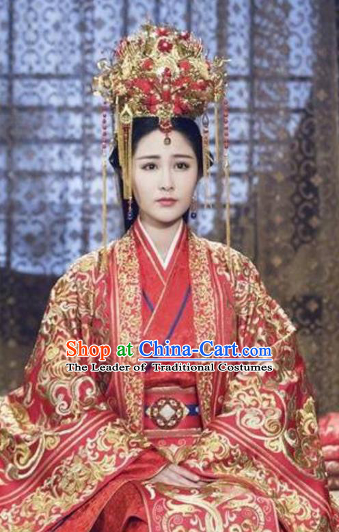 Traditional Chinese Ancient Warring States Palace Princess Costumes and Handmade Headpiece Complete Set, Song of Phoenix Chu State Infanta Bride Wedding Hanfu Embroidered Clothing for Women