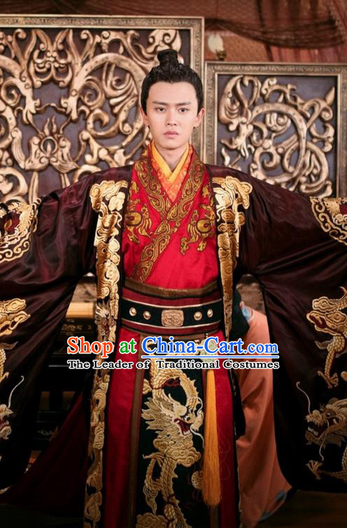 Traditional Chinese Ancient Tang Dynasty Imperial Prince Costumes and Handmade Headpiece Complete Set, The Glory of Tang Dynasty Crown Prince Hanfu Embroidered Clothing for Men