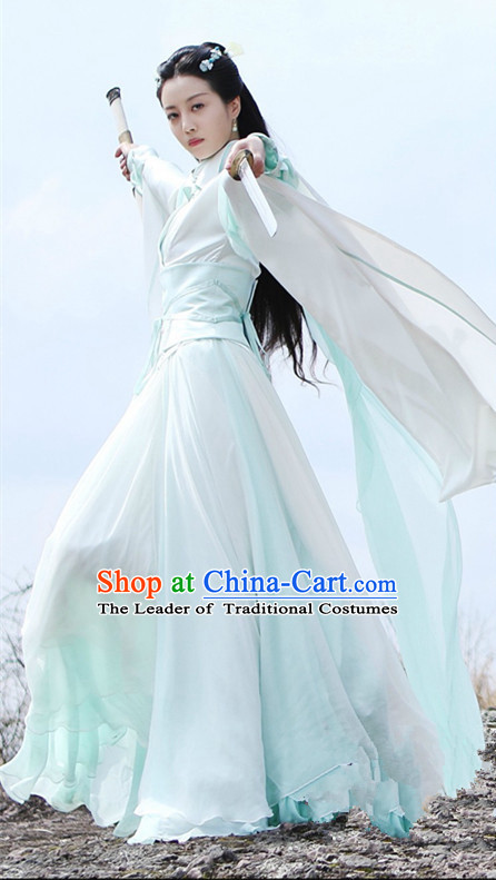 Traditional Chinese Ancient Ming Dynasty Peri Swordswoman Costumes and Handmade Headpiece Complete Set, Legend of Ace Heroine Princess Hanfu Clothing for Women