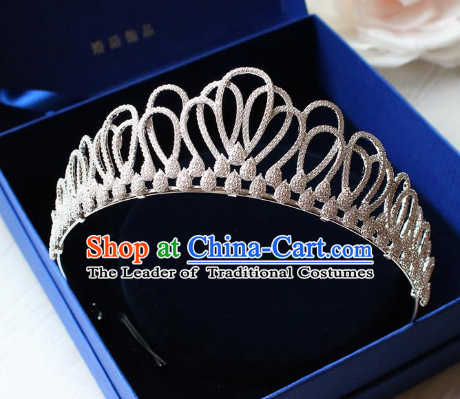 Top Grade Handmade Wedding Hair Accessories Bride Luxury Crystal Diamante Crown, Traditional Baroque Princess Zircon Royal Crown Wedding Headwear for Women
