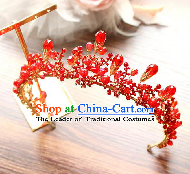 Top Grade Handmade Wedding Hair Accessories Bride Red Crystal Hair Clasp, Traditional Baroque Princess Royal Crown Wedding Headwear for Women
